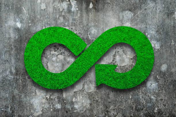 eco, circular economy, green grass infinity arrow symbol. - economia circular imagens e fotografias de stock