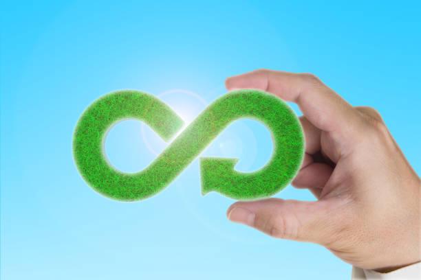 eco. circular economy. hand holding green grass infinity arrow symbol. - economia circular imagens e fotografias de stock
