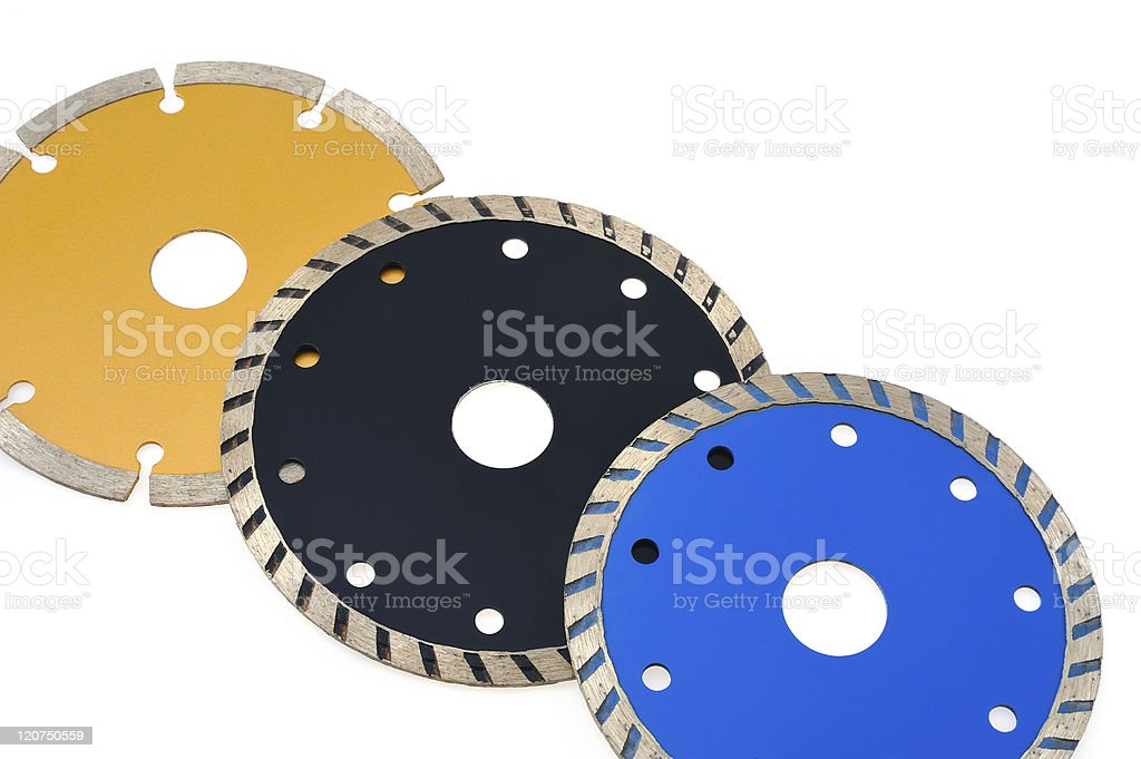 Circular grinder blades for tiles isolated on white background royalty-free stock photo