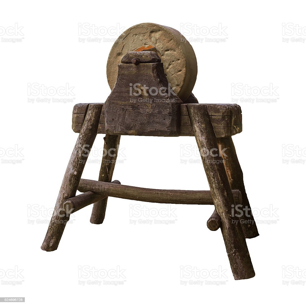 Circular grindstone on  serious wooden stand stock photo