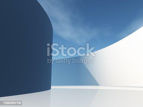 istock Circular hallway with sky 1066969708