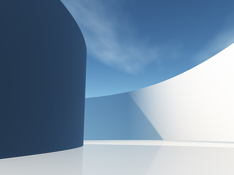 Circular hallway with sky