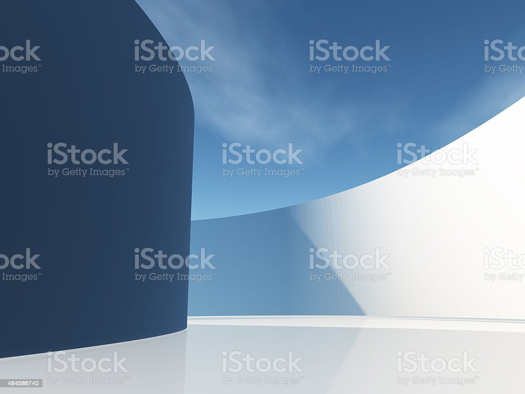 Circular hallway with sky stock photo
