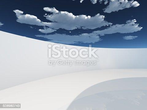 istock Circular hallway with sky 528980743