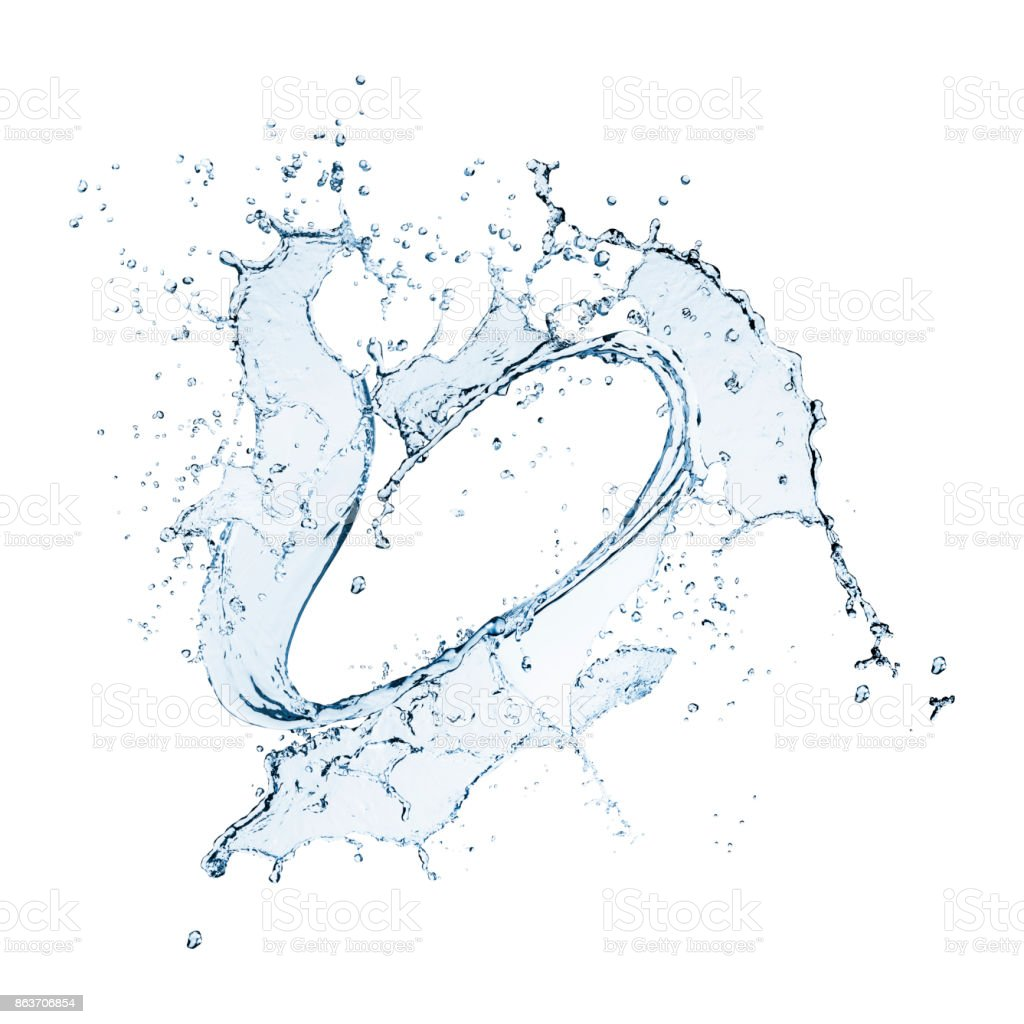 Circular Heart shaped water splash isolated on white stock photo