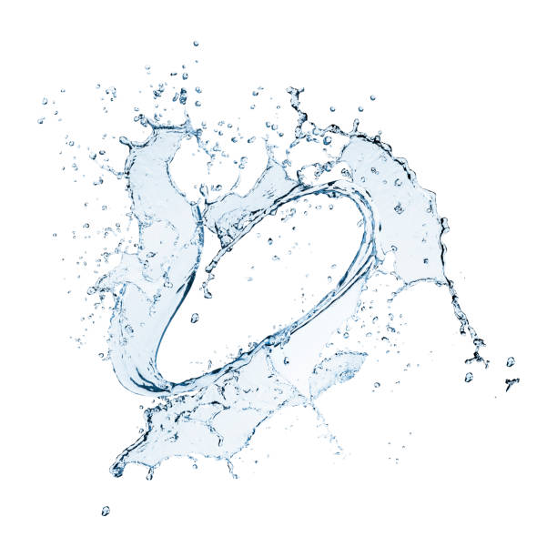 circular heart shaped water splash isolated on white - splashing stock photos and pictures