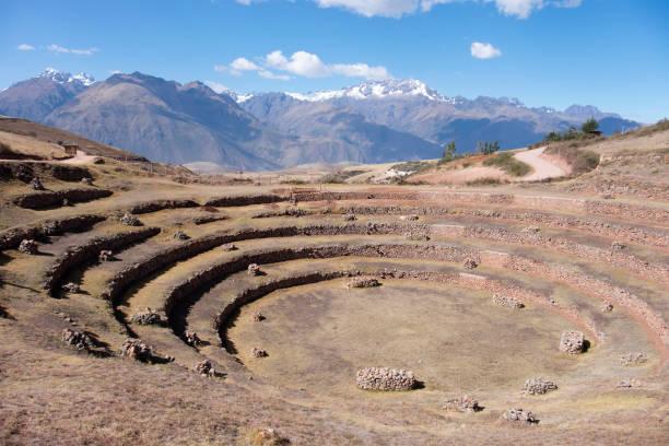 Circular Inca Terraces At Moray In Peru stock photo