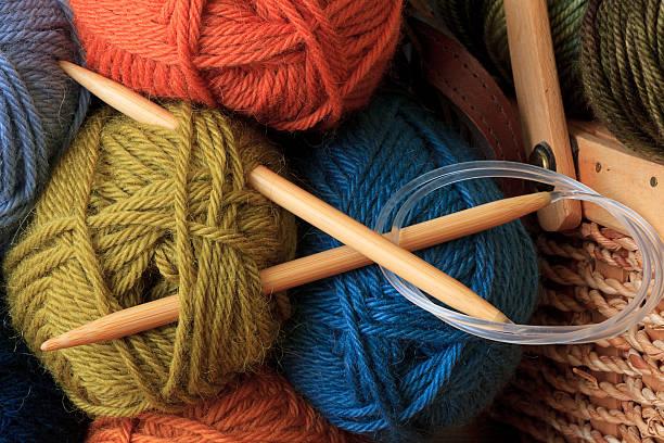 circolare aghi da cucito - lavorare a maglia foto e immagini stock