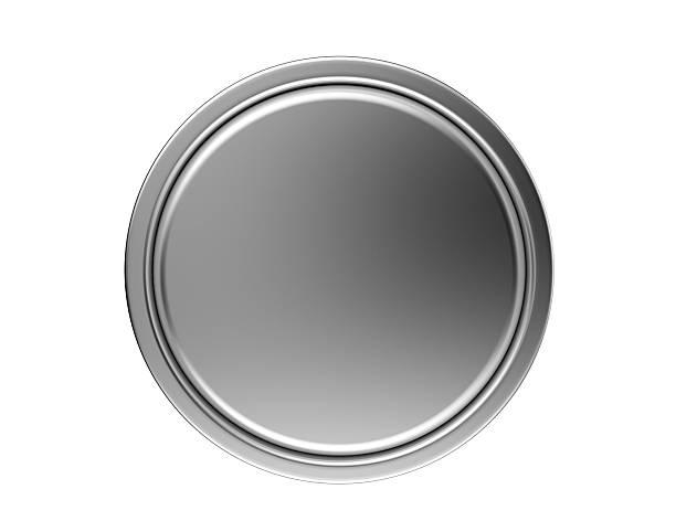 botão de metal isolado no branco - cromo metal - fotografias e filmes do acervo
