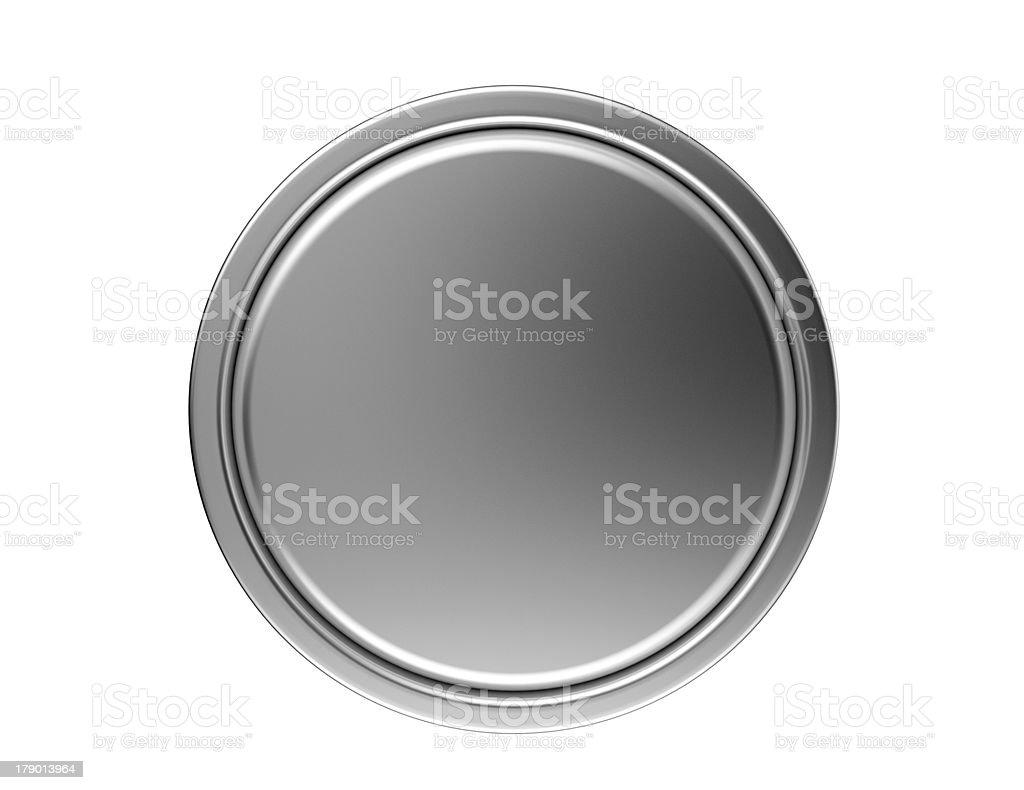 Circular light grey metal disk on white background stock photo