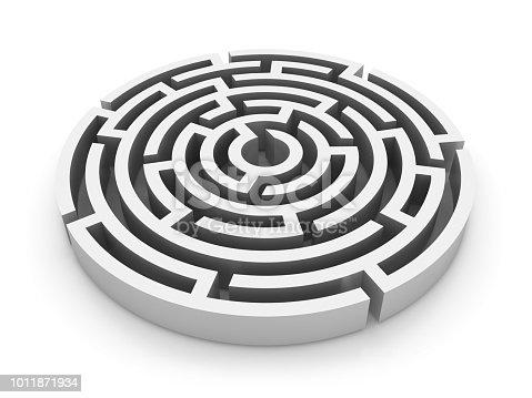 108688372 istock photo Circular Maze - 3D Rendering 1011871934