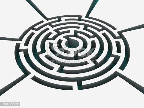108688372 istock photo Circular Maze - 3D Rendering 953122966