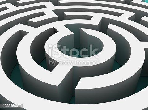 108688372 istock photo Circular Maze Close Up- 3D Rendering 1055560672