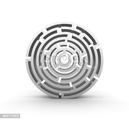 108688372 istock photo 3D Circular Maze Front View - 3D Rendering 953122922