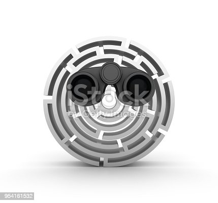 954744070 istock photo 3D Circular Maze Front View with Binoculars - 3D Rendering 954161532