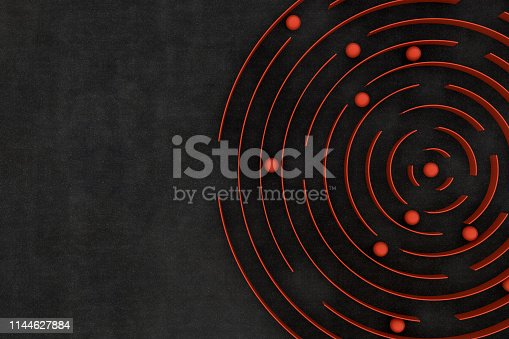 3D Circular Maze, Labyrinth, Colorful, Choices, Problems, Strategy, Circle, Black background