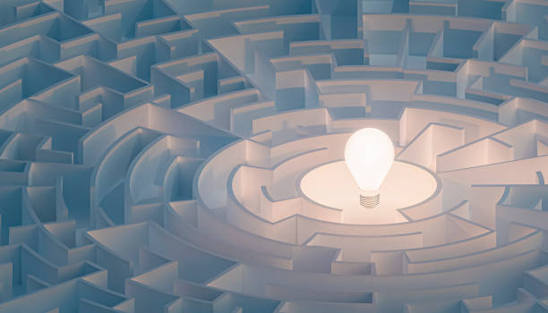 Circular maze or labyrinth with light bulb in its center. Puzzle, riddle, intelligence, thinking, solution, IQ concepts. 3d render illustration. Circular maze or labyrinth with light bulb in its center. Puzzle, riddle, intelligence, thinking, solution, IQ concepts. 3d render illustration. finding stock pictures, royalty-free photos & images