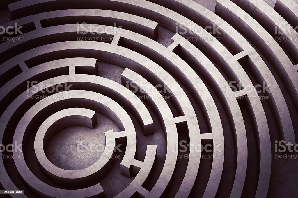 Circular maze stock photo