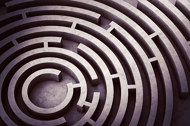 circular maze - maze stock photos and pictures