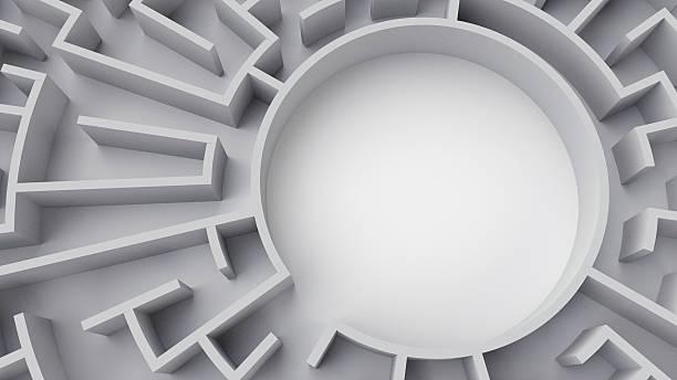 kreisförmige labyrinth (center - spiel des wissens stock-fotos und bilder