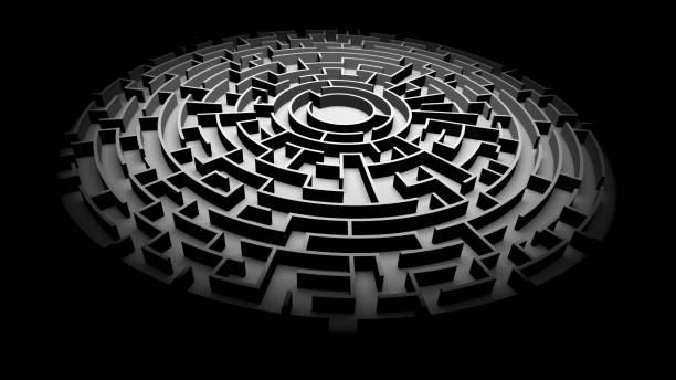 circular maze structure ablaze with light surrounded by darkness 3d illustration ablaze stock pictures, royalty-free photos & images