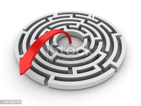 108688372 istock photo Circular Maze with Arrow - 3D Rendering 1197330724