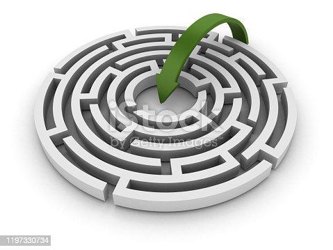 108688372 istock photo Circular Maze with Arrow - 3D Rendering 1197330734