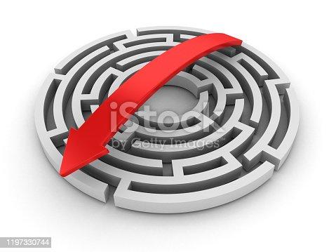 108688372 istock photo Circular Maze with Arrow - 3D Rendering 1197330744