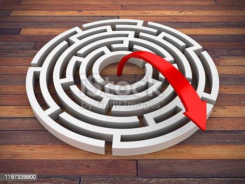 108688372 istock photo Circular Maze with Arrow - 3D Rendering 1197339900