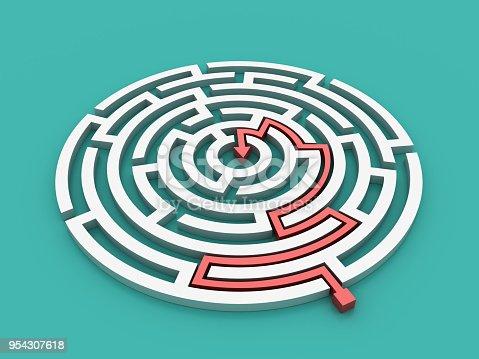 108688372 istock photo Circular Maze with Arrow Solution - 3D Rendering 954307618