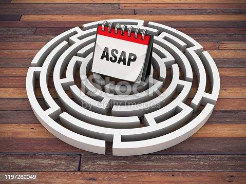 Circular Maze with ASAP Calendar on Wood Floor - 3D Rendering