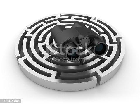 954744070 istock photo Circular Maze with Binoculars - 3D Rendering 1018354596