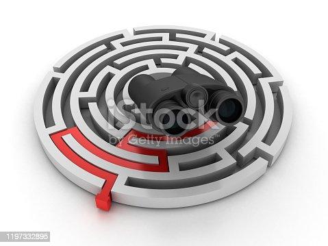 954744070 istock photo Circular Maze with Binoculars - 3D Rendering 1197332895
