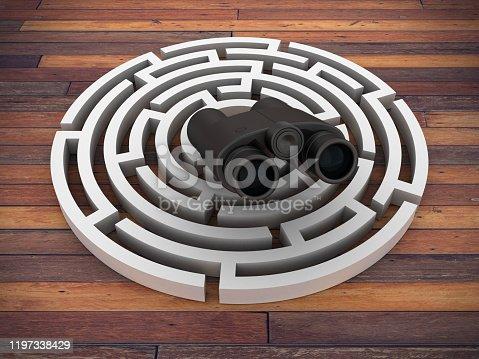 954744070 istock photo Circular Maze with Binoculars - 3D Rendering 1197338429