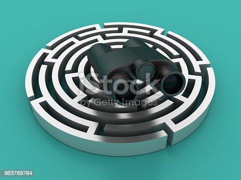954744070 istock photo Circular Maze with Binoculars - 3D Rendering 953769764