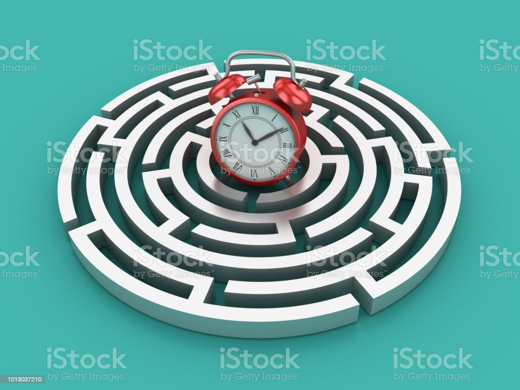 Circular Maze With Clock 3d Rendering Stock Photo More Pictures Of Circuit Boards Hands Royalty Free Image