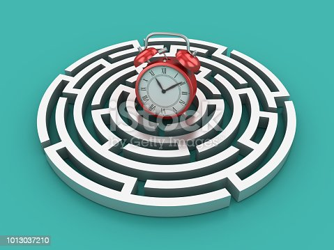 Circular Maze with Clock - Colored Background - 3D Rendering