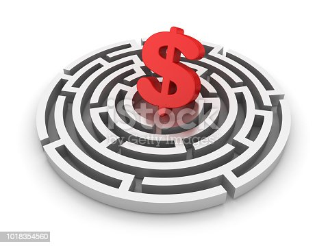 Circular Maze with Dollar Sign - White Background - 3D Rendering