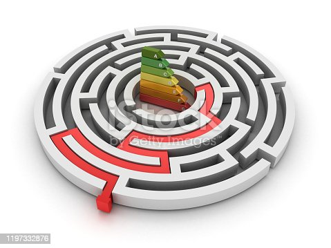 Circular Maze with Efficient Energy Diagram - White Background - 3D Rendering