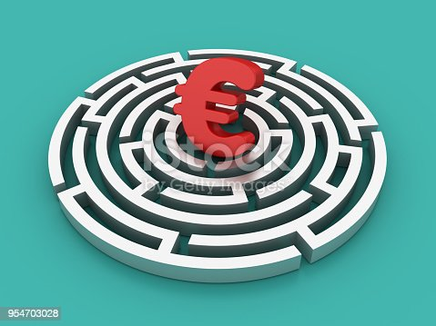 Circular Maze with Euro Sign - Colored Background - 3D Rendering