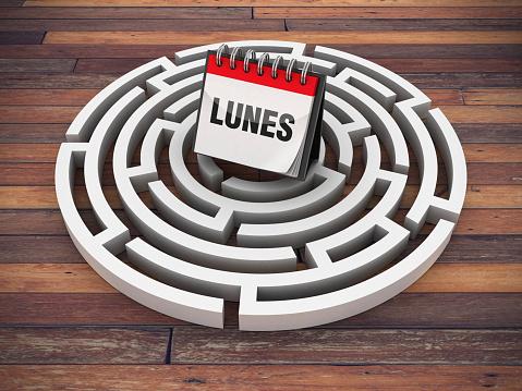 Circular Maze with LUNES Calendar on Wood Floor - Spanish Word - 3D Rendering