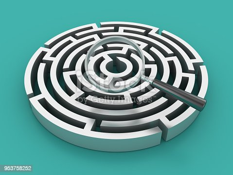 108688372 istock photo Circular Maze with Magnifying Glass - 3D Rendering 953758252