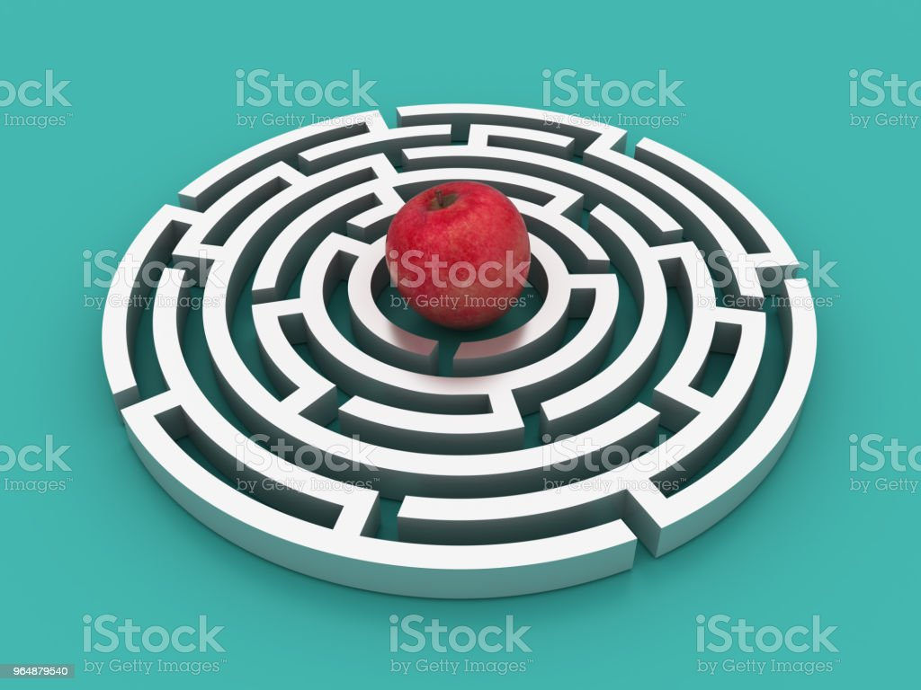 Circular Maze with Red Apple - 3D Rendering royalty-free stock photo