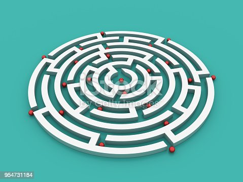 954744070 istock photo Circular Maze with Spheres - 3D Rendering 954731184