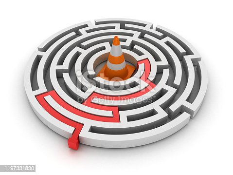 954712506istockphoto Circular Maze with Traffic Cone - 3D Rendering 1197331830