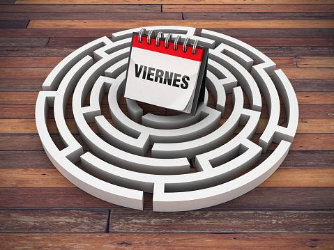 Circular Maze with VIERNES Calendar on Wood Floor - Spanish Word - 3D Rendering