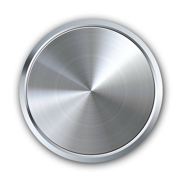 Circular metal button stock photo