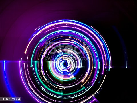 Circular motion colorful led lights long exposure