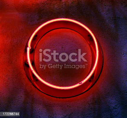 istock Circular neon light mounted on a wall 172288744