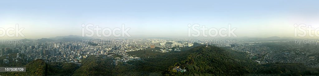 XXXL Circular panorama of Seoul, South Korea. royalty-free stock photo